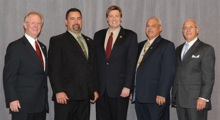 Rep. Jason Altmire (D-4th PA), center, with (l. to r.) IP Newton Jones; Tom Atwood and Ray Doria, Local 154; and IR Bob Heine.