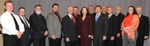 Sen. Maria Cantwell (D-WA), center, with delegates from Washington state and IP Newton Jones, fifth from left; IVP J. Tom Baca, fourth from left; AD-ISO Gary Powers, fourth from right; and IR Dave Bunch, at far right.