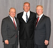Rep. Mike Doyle (D-14th, PA), left with Local 154's James Steigerwald and IP Newton Jones.