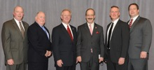 Rep. Eliot Engel (D-17th NY), third from right, with (l. to r.) Tom Klein and Tom Cook, Local 5; IP Newton Jones; and Kevin O'Brien and Thomas Ryan, Local 5.