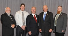 Rep. Steny Hoyer (D-5th MD), second from right, with (l. to r.) AD-SMDS Steve Beal; Matthew Malesick, Local 193; IP Newton Jones; and Keith Jones, L-193.