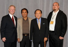 Sen. Daniel Inouye (D-HI), second from right, with (l. to r.) IP Newton Jones and Local 90's Leo Miguel and Keola Martin.