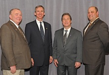 Rep. Daniel Lipinski (D-3rd IL), second from left, with (l. to r.) Benjamin Kosiek, Local 1; IR Pat Stefancin; and AIP Eugene Forkin.