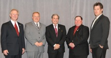 Rep. John Yarmuth (D-3rd KY), center, with (l. to r.) IP Newton Jones, and Local 40 delegates Mike Autry, William Link, and Bryan Parsons.