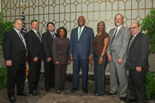 Rep. A. Donald McEachin (D-VA 4th), fourth from right, with, l. to r., Danny Watson, L-45; IR Frank Hartsoe; David Jerrell, L-684; Alison Wilson, L-64; Helena Ringo, L-684; Michael Patterson, L-684; and IVP-NE John Fultz.