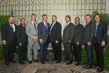 Rep. Mark Takano (D-CA 41st), fourth from left, with, l. to r., Robert Navarro, L-1998; Rudy Gomez, L-1998; Jay Rojo, L-92; IVP-WS J. Tom Baca; David Hoogendoorn, L-549; IR Adrian Maldonado; IR Fred Rumsey; and IR Jim Cooksey.