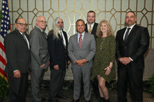 Rep. David Cicilline (D-RI 1st), center, with l. to r., IVP-NE John Fultz; Patrick Joyce, L-614; John Adamson, L-614; Scott Burke, L-29; guest Kathy Hall; and Chuck Hancock, L-29.