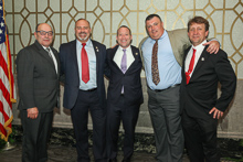 Rep. Josh Gottheimer (D-NJ 5th), center, with l. to r., IVP-NE John Fultz; L-28's James Chew, Dan Engle and Eric Waldron.