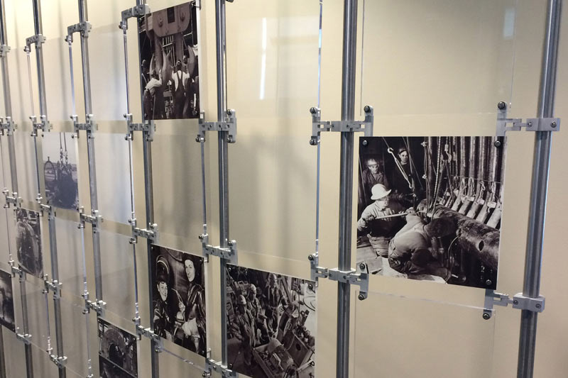 This wall of historical Boilermaker photos, created by the Boilermakers History Preservation Department under Charles Jones leadership, is installed at the Bank of Labor in Washington, D.C.