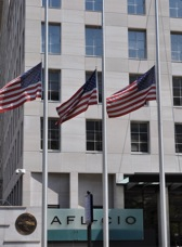 Flags were lowered to half-mast at AFL-CIO headquarters (above) to recognize Abe Breehey. Flags were also flown over the U.S. Capitol in his honor and were presented to family members.