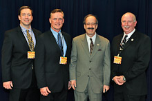 Rep. Eliot Engel (D-NY 17th), second from right, with Local 5's Tom Ryan, Kevin O'Brien, and Tom Klein.