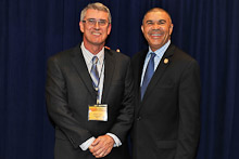 Rep. Lacy Clay (D-MO 1st), right, with Randy Cruse, Brotherhood Bank and Trust.