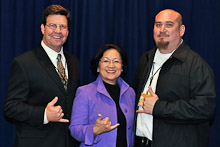 Rep. Mazie Hirono (D-HA 2nd) with Gary Aycock, Local 627; and Keola Martin, Local 90.