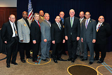Rep. Patrick Meehan (R-PA 7th), fourth from right, with delegates from Local 13 and Local 19.