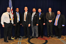 Rep. Rick Larsen (D-WA 2nd), third from left, with Mark Leighton, L-290; Ykalo Abraha, L 104; IVP J. Tom Baca; Fred Rumsey, L-242; Sheldon Murray, L-104; and Richard Jones, L-104.