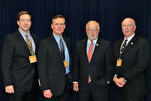 Rep. Tim Bishop (D-NY 1st), second from right, with Local 5's Tom Ryan, Kevin O'Brien, and Tom Klein.