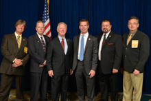 Rep. Eric Swalwell (D-CA -15th), third from right, with l. to r. Dave Hoogendoorn, L-549; Mark Sloan, L-549; IP Newton Jones; IVP J. Tom Baca; and Jay Rojo, L-92.