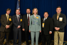 Rep. Lois Capps (D-CA -24th), center, with, l. to r., Dave Hoogendoorn, L-549; Mark Sloan, L-549; IVP J. Tom Baca; Bobby Godinez Sr., IR-ISO; and Jay Rojo, L-92.