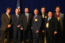 Rep. Tony Cardenas (D-CA-29th), center, with, l. to r., Dave Hoogendoorn, L-549; Mark Sloan, L-549; IVP J. Tom Baca; Jay Rojo, L-92; Bobby Godinez Sr., IR-ISO; and IR Jim Cooksey.