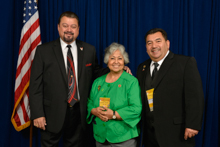 Rep. Gloria McCleod (D-CA -35th), with l. to r. IVP J. Tom Baca and IR-ISO Bobby Godinez Sr.