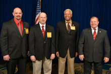 Rep. Hank Johnson (D-GA-4th), third from left, with, l. to r., L-454 delegates Shannon Tate, Danny Hill, and Bobby Lunsford Jr.
