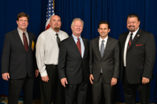 Sen. Brian Schatz (D-HI), fourth from left, with IP Newton Jones, third from left; IVP J. Tom Baca, far right; and l. to r. Gary Aycock, L-627; and Keola Martin, L-90.