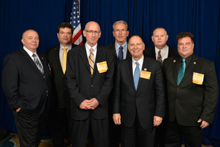 Rep. Bill Enyart (D-IL-12th), fifth from left, with IVP Larry McManamon, center, and l. to r., Ben Kosiek, L-1; Glenn Reinhardt, L-483; Lew Moceri, L-363; IR Bill Staggs; and Kirk Cooper, L-60.