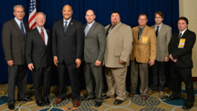 Rep. Andre Carson (D-IN-7th), third from left, with IP Newton Jones second from left; IVP Larry McManamon, far left; IR Don Hamric, far right; and delegates from the state of Indiana.