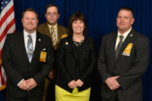Rep. Betty McCollum (D-MN-4th), with L-647 delegates, l. to r., Derek McPheeters, Stacey Bendish, and Matt Olsen.