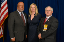 Rep. Bennie Thompson (D-MS-2nd), left, with Director of Political Affairs Bridget Martin and IR J.T. Rhea.