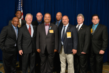 Rep. Don Payne (D-NJ-10th), center, with IP Newton Jones, third from left; and l. to r., Tony Sherman, Dave Gaillard, Robert Chowning, and Sean Harvey, L-19; and Jim Chew, Skip Redfield, and Jay Brophy, L-28.
