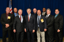 Rep. Rush Holt (D-NJ-12th), fourth from left, with IP Newton Jones, third from left, and lodge delegates from New Jersey and eastern Pennsylvania.