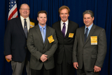 Rep. Brian Higgins (D-NY-26th), third from left, with l. to r. Marty Spencer, BNAP National Coordinator; Michael Bogue, L-7; and Dan DeCarlo, L-7.
