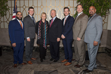 Rep. Carolyn Maloney (D-NY 12th) with, l. to r., L-5's Moises Fernandez and Chris Donahue; IP Newton Jones; L-5's Andrew Labeck and Tom Ryan; and IR Miguel Fonseca.