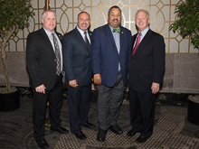 Rep. Donald Payne Jr. (D-NJ 10th), second from right, with, l. to r., L-28 delegates Dave Addison and James Chew; and IP Newton Jones.