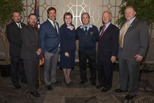Rep. Marcy Kaptur (D-OH 9th) with, l. to r., Abraham Babcock and Rob Martin, L-85; Scott Hammond, L-105; IR Pat Stefancin; IP Newton Jones; and Jimmy McManamon, L-744.