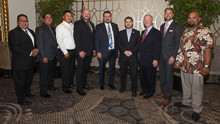 Rep. Ruben Gallego (D-AZ 7th) fourth from right, with, l. to r., Louis Dodson Jr., L-4; Wesley Dale, L-627; Tawn Billy, L-4; Jacob Evenson, L-627; IVP J. Tom Baca; IP Newton Jones; Trent Sorensen, AST-BHPD; and Shane Ferreira, L-627.