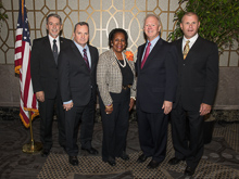 Rep. Sheila Jackson Lee (D-TX 18th) with, l. to r., Mark Thompson, L-132; IVP Warren Fairley; IP Newton Jones; and IR Clay Herford.