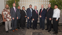 Rep. Tom O'Halleran (D-AZ 1st), third from right, with, l. to r., Shane Ferreira, L-627; Trent Sorensen, AST-BHPD; Wesley Dale, L-627; Louis Dodson Jr., L-4; IVP J. Tom Baca; IP Newton Jones; Jacob Evenson, L-627; and Tawn Billy, L-4.