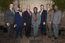 Rep. Yvette Clarke (D-NY 9th), with, l. to r., L-5's Chris Donahue and Moises Fernandez; IP Newton Jones; L-5's Andrew Labeck and Tom Ryan; and IR Miguel Fonseca.