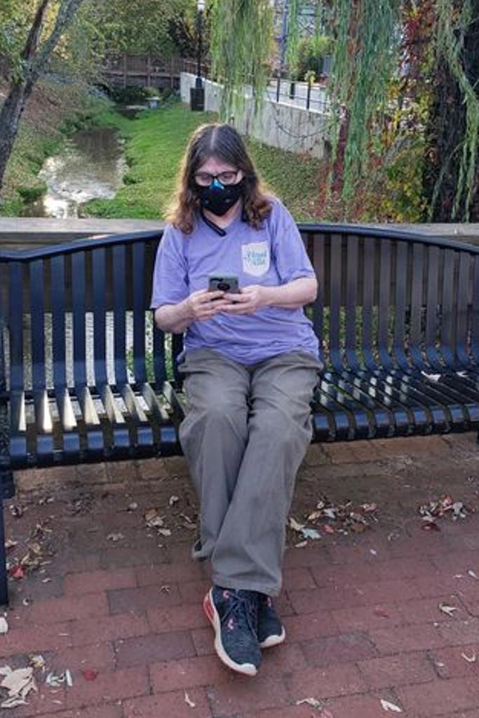 DeAnn Smith, L-456, enjoys the outdoors while she participates in the virtual 2020 Tradeswomen Build Nations via smartphone.