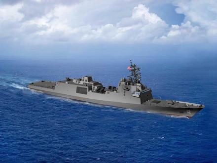 Representación de la primera fragata de misiles guiados de su clase, FFG(X), que será construida por Boilermakers en Fincantieri Marinette Marine.
