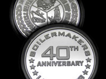 The LEAP 2008 40th anniversary coin reflects the anniversary date on one side, the Boilermakers' official seal on the other.