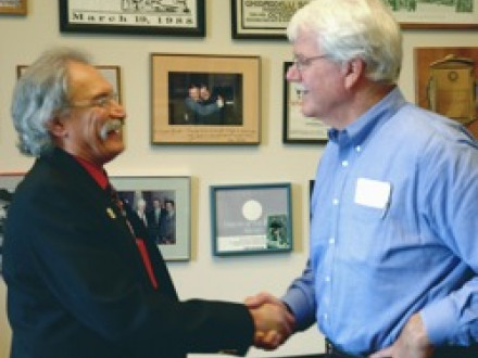 L-549 (Pittsburg, Calif.) BM-ST Frank Secreet, l., greets Rep. George Miller (D-7th CA) in Miller's Capitol Hill office.
