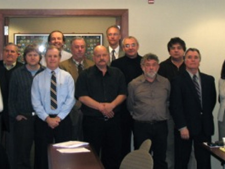 Boilermakers attending the first meeting of the North American Cement and Building Materials Union Network are Jim Pressley, ED-ISO (second from left); Gary Prochnow, D-ISS&O (third from left); Mark Kelly, IR (center front, in black shirt); and Carey Allen, D-ISO (fifth from right). At far left is Phee Jung-sun, ICEM materials section manager. Photo courtesy Jan Voets