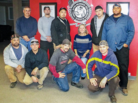 Participating in a recent welding exhaust study are, first row, left to right, Local 101 members Mickey Roer, Blayne Graham, T.R. Thayer, and Mykola Savechenko. Second row, Mark Garrett, D-H&SS; Vince Shelly, Local 101; Jesus Alfero, Local 101; Pam Susi, CPWR; Oleg Vdovich, L-101; and Andre Green L-101. Not in picture is Sergio Caporali, PhD, of the University of Puerto Rico.