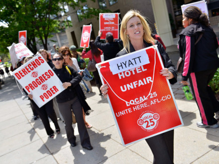 Political Director Bridget Mart in joins LEAP delegates in supporting a Unite Here picket at the entrance to the Hyatt Regency Hotel.