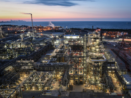 Evening shot of BP's reconfigured 12 Pipestill unit. The new 166-ft.-tall vacuum tower is in the foreground.  Photo courtesy of BP.