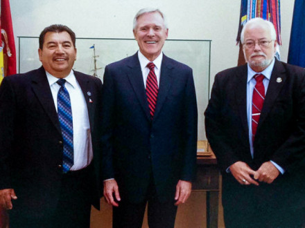 L-1998 Pres. and IR Robert C. Godinez, left, and Asst. Dir. – Shipbuilding and Marine Division Services Steven Beal, right, meet with Navy Sec. Ray Mabus in May.