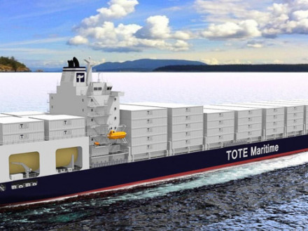 Artist's rendering of new LNG-powered TOTE ship.